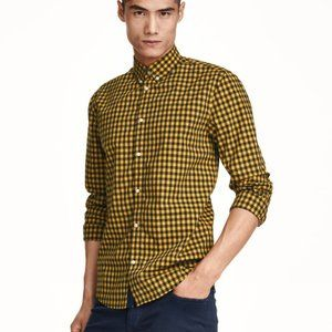 Checked Yellow/Black Button Down Shirt